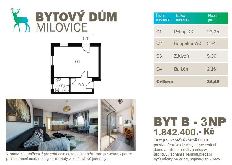 Prodej novostavby bytu 1kk 34,45m2