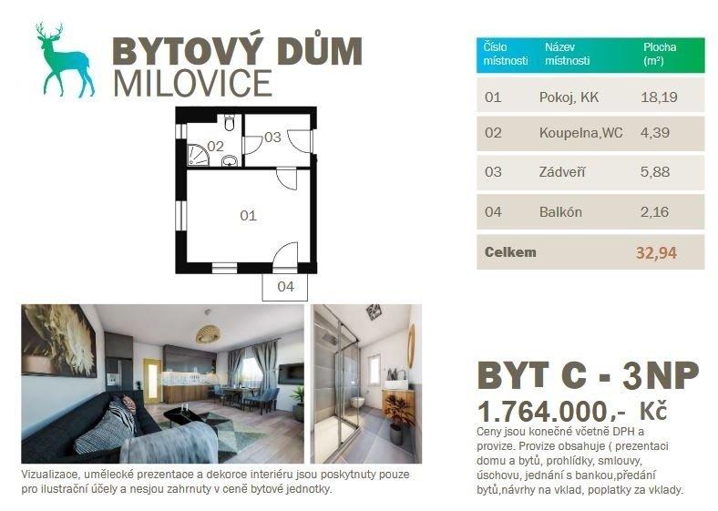 Prodej novostavby bytu 1kk 32,94 m2 s balkonem