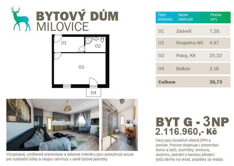 Prodej Novostavby bytu 1kk 39,73m2