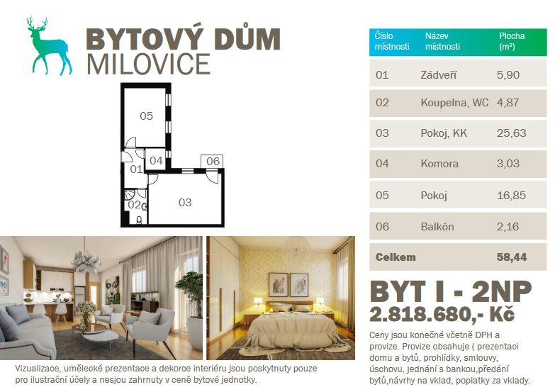 Rezervováno – Prodej novostavby bytu 2kk 58,44 m2