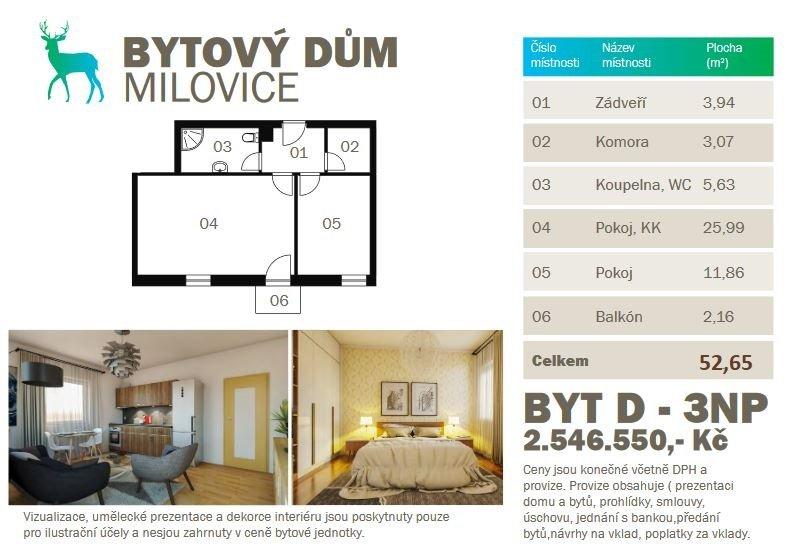 Rezervováno – Prodej novostavby bytu 2kk 52,65m2