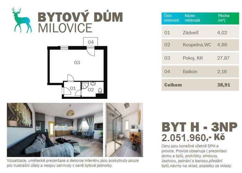 Prodej novostavby bytu 1kk 38,91 m2