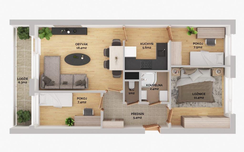 Prodej bytu 4+1 61 m² + lodžie 6,5 m2, Hurbanova, Praha 4 – Krč