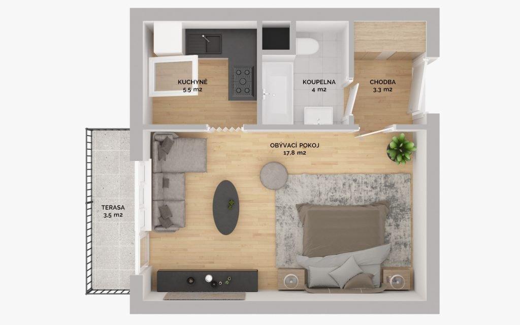 REZERVOVÁNO – Prodej bytu 1kk 35m2 s balkonem a sklepní kójí, Nymburk – Říční