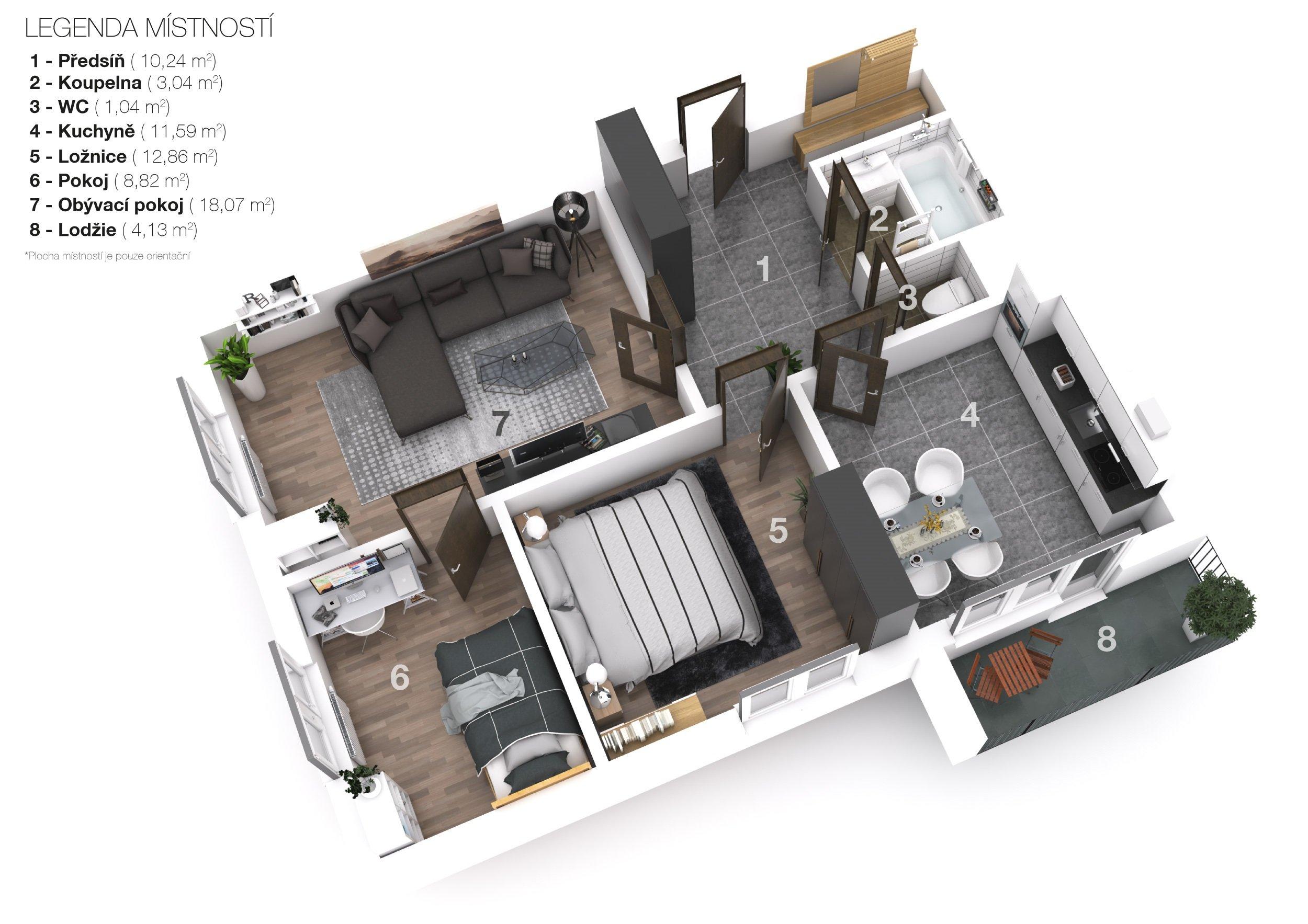 Prodej družstevního bytu 3+1 70 m2 se zasklenou lodžií, Praha 8 – Střížkov